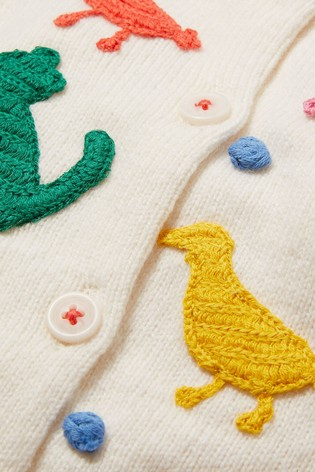 Boden Ivory Crochet Detail Cardigan