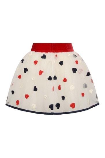 Baby Girls Ivory/Red Tulle Heart Skirt