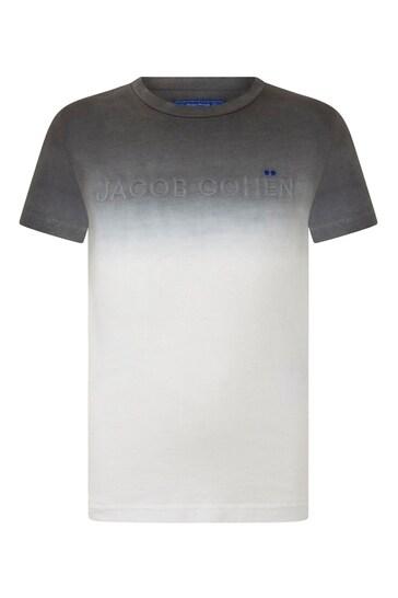 소년 화이트 타이 염료 로고 티셔츠