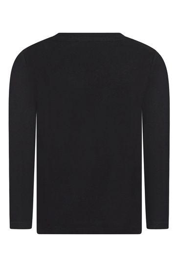 Boys Black Robot Cotton T-Shirt