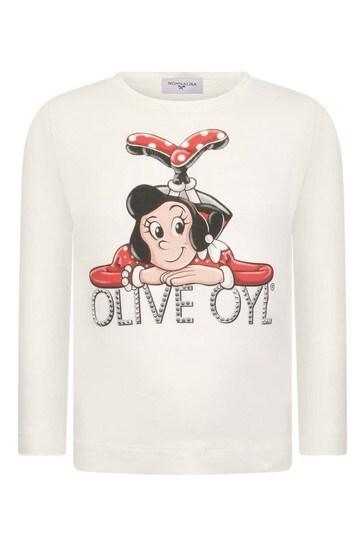 걸스 아이보리 올리브 오일 코튼 롱 슬리브 티셔츠