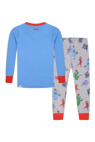 Boys Organic Cotton Grey/Blue Pyjamas Two Pack