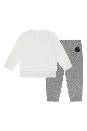 Baby Boys Ivory/Grey Cotton Tracksuit