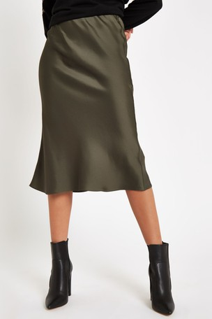 buy online limited quantity biggest selection Buy River Island Khaki Bias Cut Skirt from Next Ireland