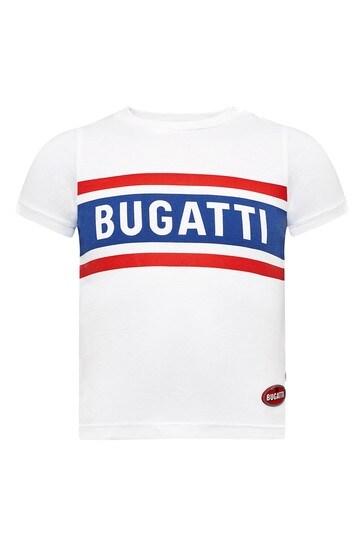 부가티 베이비 보이즈 화이트 코튼 티셔츠