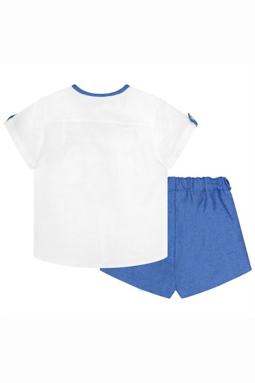 Baby Boys Blue Linen Outfit