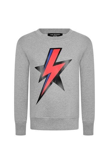 소년 회색 면 번개 프린트 스웨트 셔츠