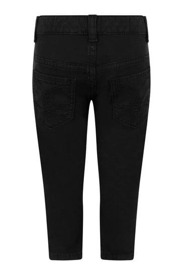 Baby Boys Black Cotton Logo Trousers