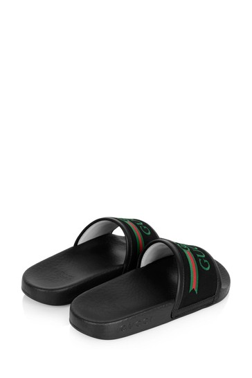 Black Rubber Gucci Logo Embossed Sliders