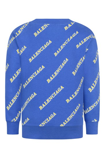 Kids Blue Cotton Logo Sweater