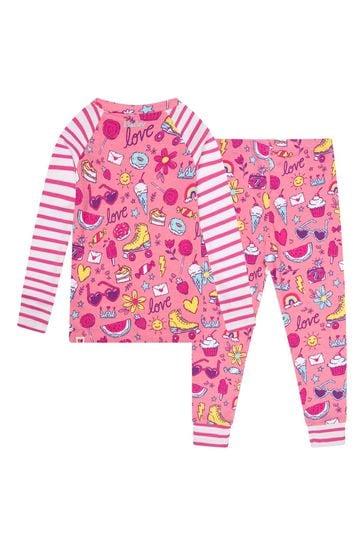 Girls Pink Lovely Doodles Organic Cotton Raglan Pyjama Set