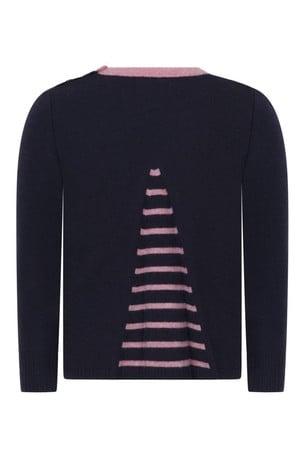걸스 네이비 메리노 울 스윙 스웨터