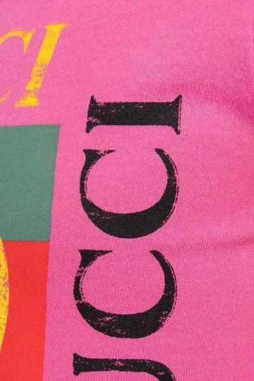 Fuchsia Cotton Logo Print Top