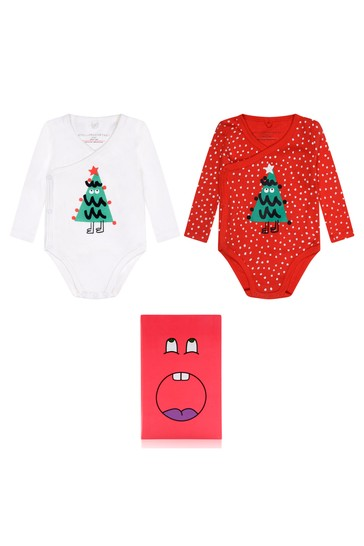 Baby Girls Red Xmas Trees Bodysuits Set