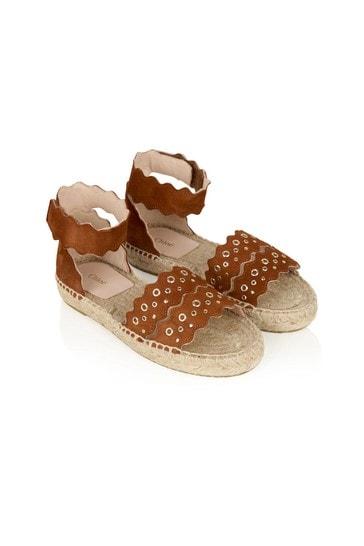 Girls Orange Leather Sandals