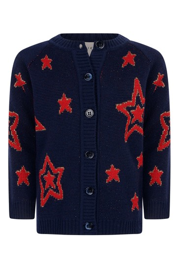 Baby Girls Navy Wool Knitted Stars Cardigan