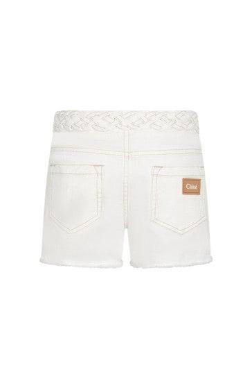 Girls Cream Cotton Shorts