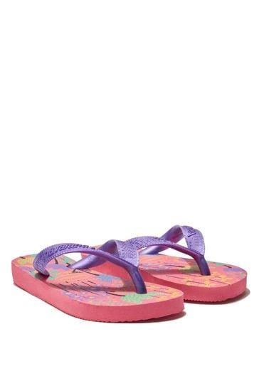 Girls Pink Floral Flip Flops