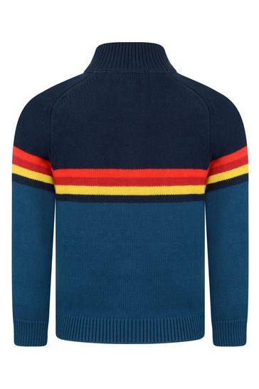 Boys Blue Knitted Half Zip Jumper
