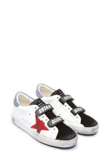 Kids White Leather & Suede Star Old School Trainers