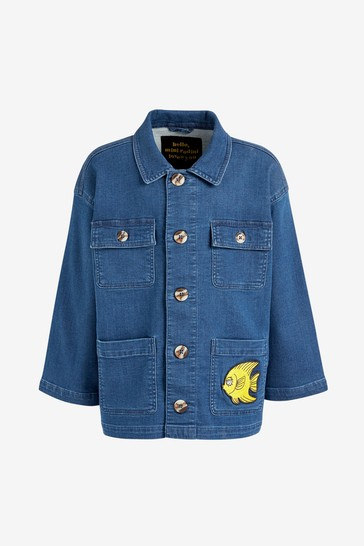 키즈 블루 오가닉 코튼 데님 사파리 재킷