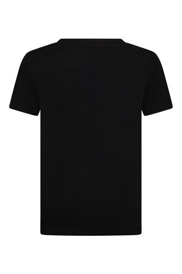 키즈 블랙 코튼 티셔츠