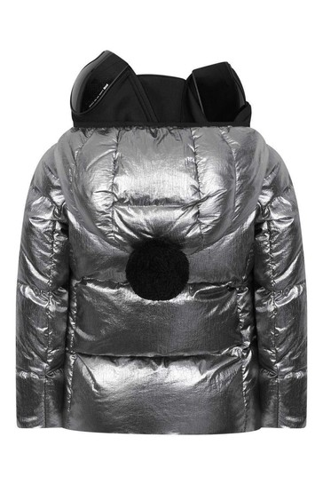 Boys Silver Down Padded Jacket With Detachable Neoprene Mask