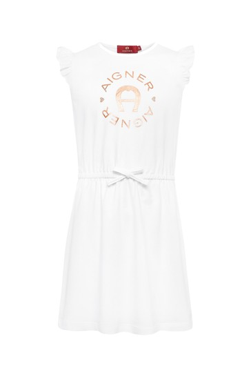 Aigner Girls White Cotton Dress