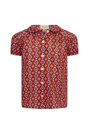 Baby Girls Red Cotton Shirt