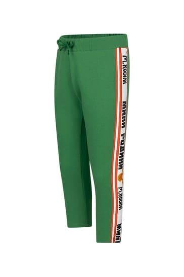 Boys Green Cotton Joggers