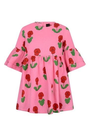 걸스 핑크 비올라스 짠 플레어 슬리브 드레스