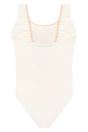 Girls Cream Swimsuit