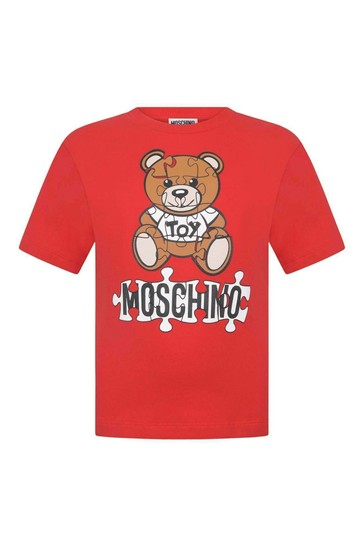 Kids Red Cotton Teddy T-Shirt