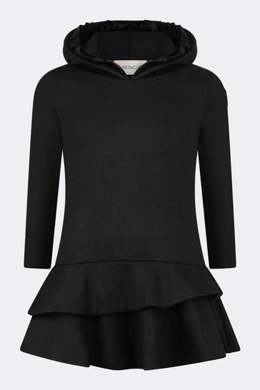 Girls Black Cotton Hooded Dress