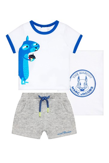 Baby Boys White Cotton T-Shirt And Shorts