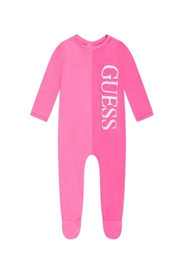 Baby Girls Pink Cotton Babygrow
