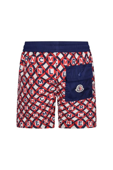 Boys Red/Blue Logo Swim Shorts