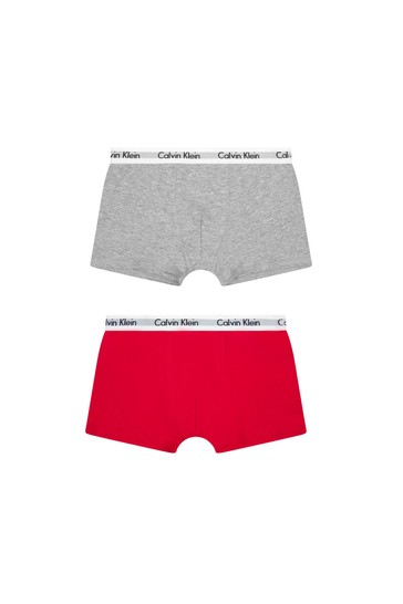 Boys Red/Grey Cotton Boxers 2 Pack
