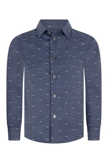 보이즈 블루 코튼 자수 로고 셔츠