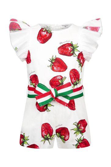 Girls White Cotton Playsuit