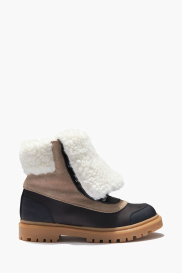 Kids Brown Leather Fleece Lined Boots