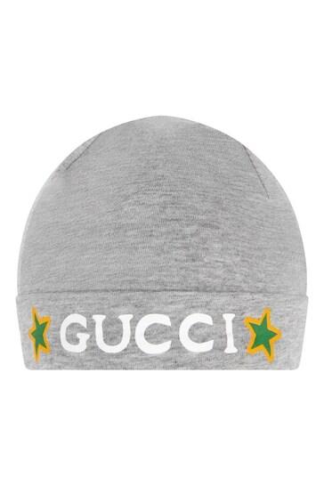 Baby Grey Cotton Babygrow, Bib And Hat Gift Set