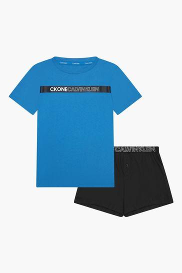 Calvin Klein Underwear Boys Blue Cotton Pyjamas