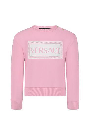 베이비 걸스 핑크 코튼 스웨트셔츠