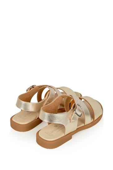 Girls Gold Leather Sandals