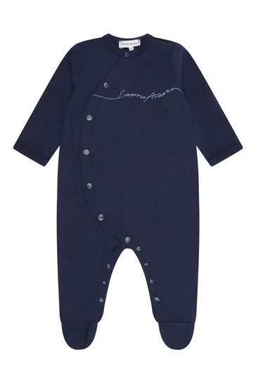 Baby Boys Navy Blue Cotton Babygrow With Pouch Gift Set