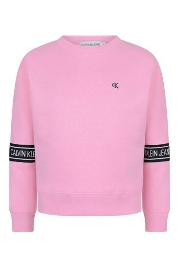 Pink Organic Cotton Logo Tape Sweater