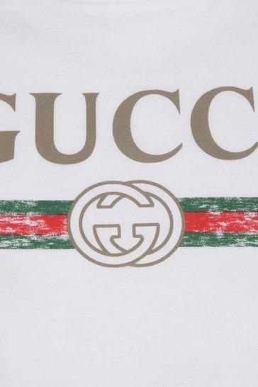 White Logo Print Top
