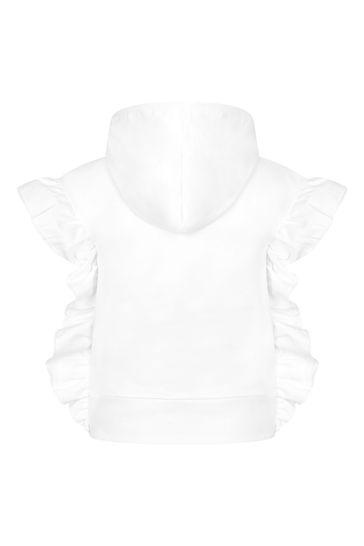 Girls White Cotton Sweat Top