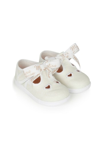 Girls White Cotton Shoes